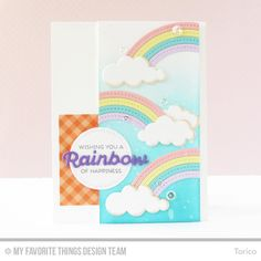 Rainbow of Happiness, Color the Rainbow Die-namics, Puffy Clouds Die-namics, Stitched Rainbow Die-namics, Zig Zag Stitched Circle STAX Die-namics - Torico  #mftstamps