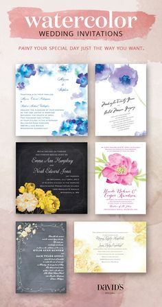 Watercolor invitations are perfect for springtime. Available at David's Bridal.