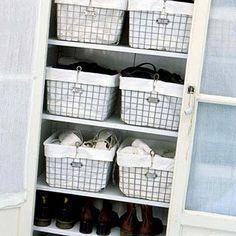 Linen Closet organizing baskets