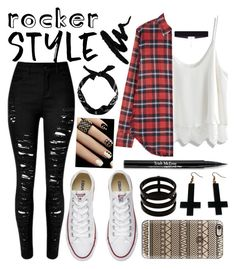 """""""Rocker style"""" by brianaac ❤ liked on Polyvore featuring Chicwish, R13, Converse, New Look, Casetify, 8 Other Reasons, Repossi, Chicnova Fashion, Trish McEvoy and rockerchic"""