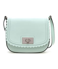 Faded Mint Lilac Road Seth Leather Crossbody- 9'' W x 8'' H x 3'' D Maximum strap length: 17''