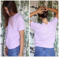 vintage lavender pointelle sweater -I'm Turning Violet, Violet. $24.00, via Etsy.