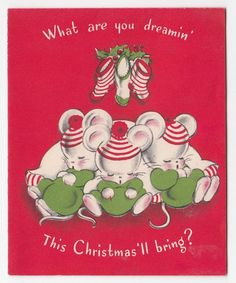 Vintage Greeting Card Christmas Cute Mouse Sleeping Mice Norcross