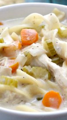 Slow Cooker Creamy Chicken Noodle Soup Recipe ~ Loaded with tender chicken, vegetables and egg noddles