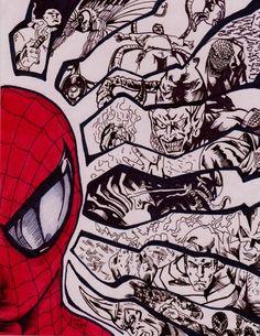 Spider-man and Villians by *AtticArtWork
