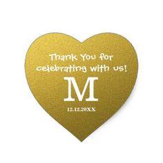 #monogrammed - #Gold Glitter Wedding Thank You Monogram Heart Sticker