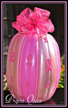 Breast cancer awareness pumpkin.