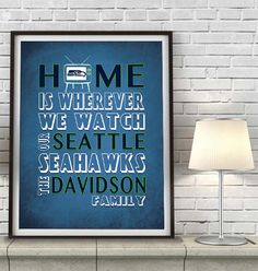 """Seattle Seahawks inspired Personalized Customized Art Print- """"Home Is"""" Parody- Retro, Vintage-  Unframed Print"""