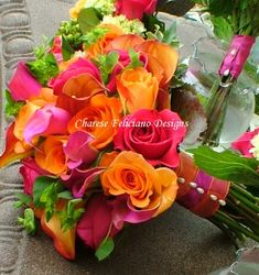 Hot pink, orange and green