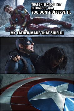 Quote from Captain America: Civil War (2016)   Tony Stark (to Steve): That shield doesn't belong to you. You don't deserve it. My father made that shield! (Steve drops the shield as he leaves...) Iron Man Quotes, Men Quotes, Civil War Quotes, Marvel Television, Funny Memes About Life, Marvel Quotes, Good Movies, Awesome Movies, One Liner