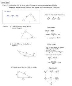 """This packet contains formulas, notes, examples, and a 12-question practice test (with solutions); (and, bonus 7 question test)..  Topics include law of sines/cosines, the """"ambiguous case"""", word problems, geometry properties, vectors, 2 comics, and more."""