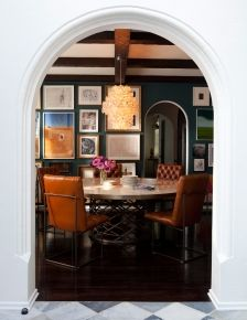Dining room gallery wall and paint color with a vintage chandelier // dining rooms