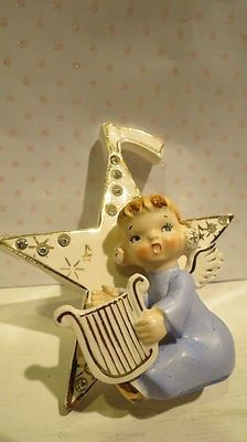 VTG Napco Lefton Dec Christmas Angel Girl With Gold Harp 15 Rhinestones On Star | #409477076