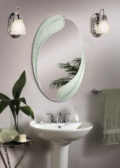 Palm Oval Mirror   Bathroom Mirror