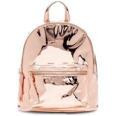 Urban Expressions Pluto Mirrored Metallic Vegan Faux Leather Mid... ($40) ❤ liked on Polyvore featuring bags, backpacks, rose gold, day pack rucksack, vegan backpack, zipper bag, vegan leather backpack and vegan bags