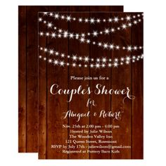 Twinkle Lights Couple's Shower Invitation - wood - personalize gift idea special custom diy or cyo