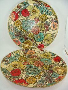 Vintage Paper Mache Serving Trays