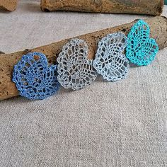 Little blue crochet heart Appliques shapes small by MyWealth