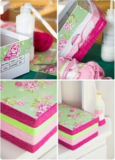 decorate shoes box {clever use of yarn/twine}