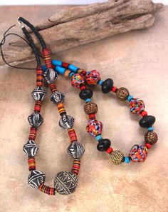 African Fiesta Necklace Beads Big Multi Color by CatchingWaves