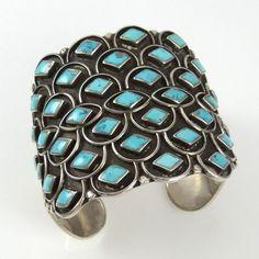 Cuff | Designer? (Navajo). Sterling silver set with Morenci ...