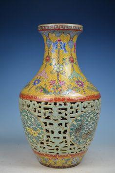 A Famille Rose Vase, Qing Dynasty, H 42cm