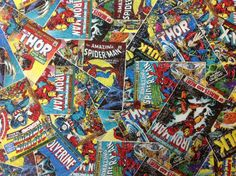 The Avengers Marvel Comic Books Fabric 3 Yards on Etsy, $33.00