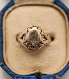 19th C. Victorian 14K Gold Signet Ring w/ Diamond