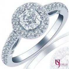 Soleil Cut 1.24 Carat Diamond Scroll Design Halo Engagement Ring 18k White Gold