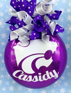 Kansas State Wildcats Personalized Glittery Christmas Ornament by SparklesandSpice11 on Etsy