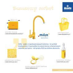 Milin - yellow kitchen mixer, Deante.
