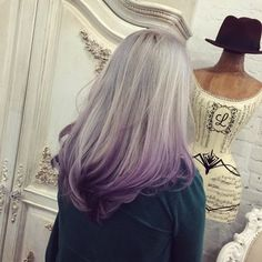 Silver to purple ombre http://www.haircolorsideas.com/bright-hair-colors/purple-hair/silver-purple-ombre/