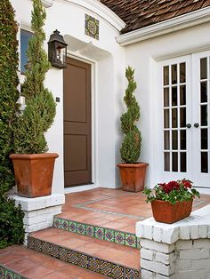 Exterior Stairs To Front Door Curb Appeal 35 Ideas Front Door Steps, Porch Steps, Front Entry, Front Porch, Porch Roof, Exterior Stairs, Building Exterior, Building Steps, Spanish Style Homes