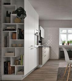 Italian contemporary modern kitchen design Stosa R… Kitchen Chairs For Sale, Home Decor Kitchen, Kitchen Interior, Home Kitchens, Modern Bookcase, Modern Shelving, Kitchen Shelves, Open Shelves, Cuisines Design