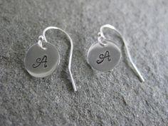 Monogram Initial Earrings Sterling Silver Hand by ESDesigns14, $10.00