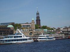 Michel, St. Michaelis Kirche, Reederei Abicht, Hafen Hamburg, Harbour of Hamburg, Germany