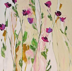 RESERVED for buyer MegumiHosono - Original Flower Painting Abstract Art, Landscape, Floral, cream, , vines, Canvas  20x20 Lazy Summer Day via Etsy