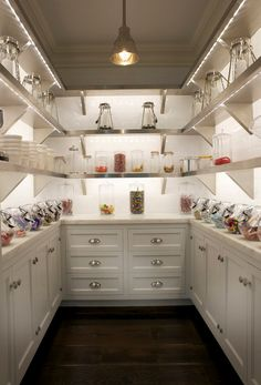 East End Country KItchens - kitchens - white cabinets, white cabinetry, pantry, walk-in pantry, candy pantry, glass lanterns, nickel pendant...