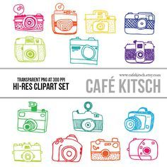 INSTANT DOWNLOAD - Cameras Clipart Set kids can make paper cameras to take pictures ribbon straps