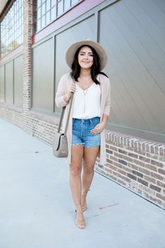 Pink Duster Cardigan | White Tank | Denim Cutoffs | Cork Heels | Panama Hat | via @maeamor