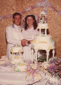 Our wedding cake ~ Made for us by my sweet sister, Sharon in 1985 . . . she still does cakes and not only are they beautiful, but they taste wonderful too!