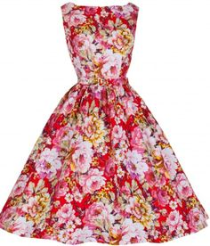 audrey hepburn boat neck dress | AUDREY' HEPBURN STYLE VINTAGE 1950's SPRING GARDEN FLORAL PARTY DRESS