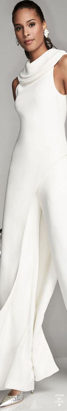 Brandon Maxwell Sleeveless Crepe Asymmetric-Hem Top, Ivory and High-Waist Crepe Wide-Leg Trousers
