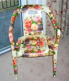 Decoupaged plastic white chair with napkins