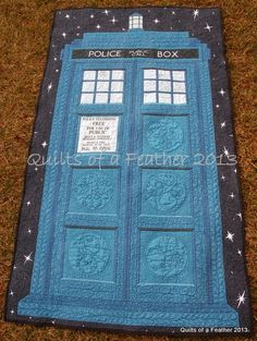 Quilts of a Feather: TARDIS Quilt. Click through for more pictures. The detail is incredible.
