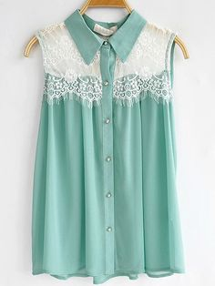 mint lace collared shirt