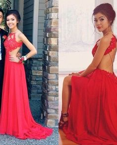 Red Lace Prom Dress,Sexy Halter Evening Dress,Appliques Backless Party Dress