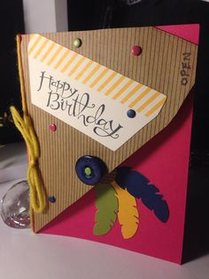 Birthday Triangle feather greeting card by Viviansgreetings