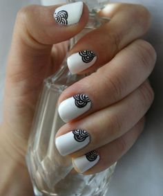 Cute Easy White and Black Nail Art