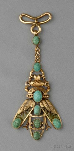 Art Nouveau 18kt Gold, Plique-a-jour Enamel, Turquoise, and Colored Diamond Fob designed as a scarab with plique-a-jour enamel wings and carved turquoise scarabs, old European and old single-cut diamond accents, lg. 4 1/4 in., French import stamps.
